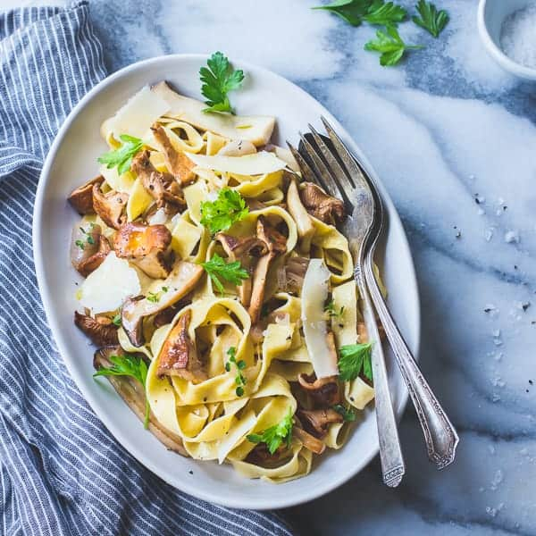 delicious Fresh Chickpea Pappardelle with Buttered Chanterelles, Thyme, and Wine {Gluten-Free}