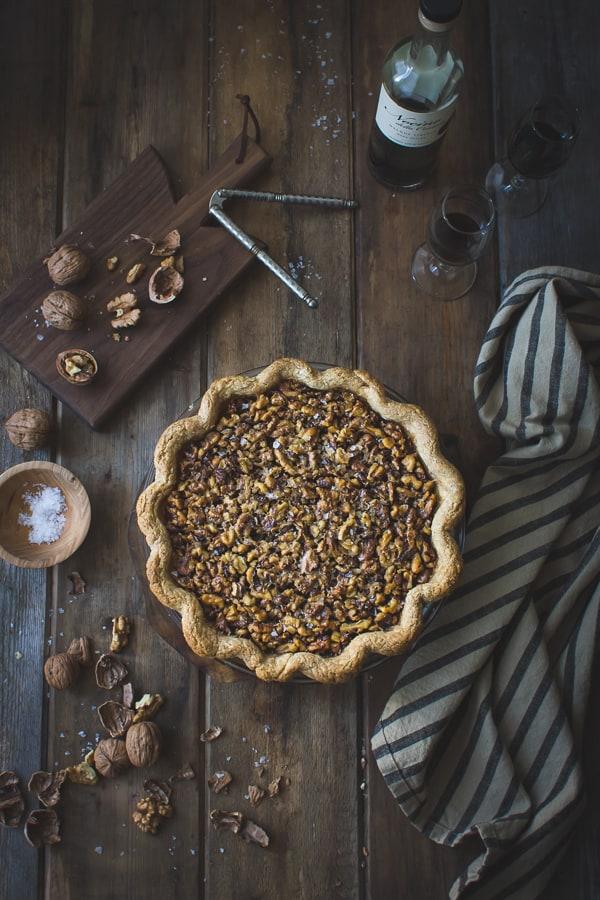 top down shot of Salty Nocino Walnut Pie {Gluten-Free}