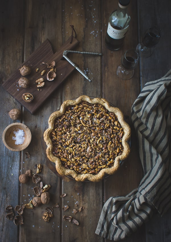 overhead shot of Salty Nocino Walnut Pie {Gluten-Free
