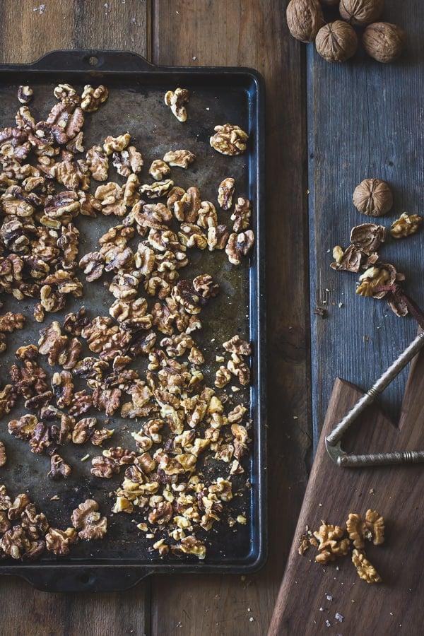 walnuts on tray