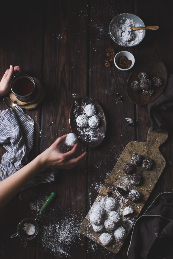 Spiced Cocoa Polvorones on table