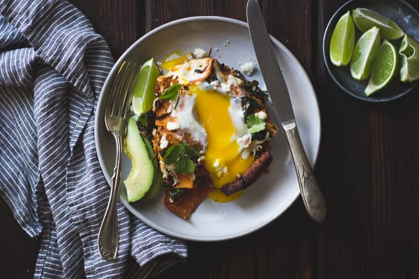 Baked Chilaquiles with Black Beans and Kale on a plate