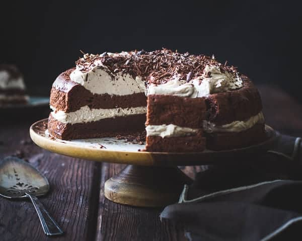 delicious Chocolate Chestnut Cream Cake with Coffee + Rum