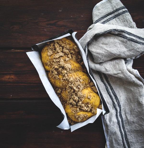 Pumpkin, Rye + Chocolate Babka in tin