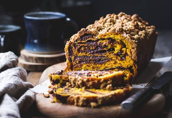 Pumpkin, Rye + Chocolate Babka loaf