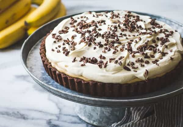 delicious Rum-Kissed Banana Butterscotch Cream Tart in a Cocoa-Buckwheat Crust