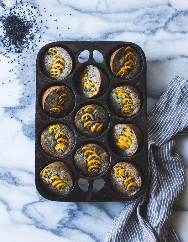Black Sesame Kumquat Financiers in baking tray