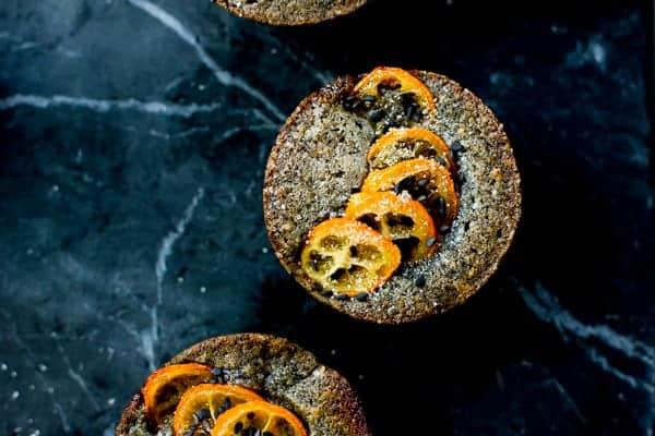 close up of Black Sesame Kumquat Financiers