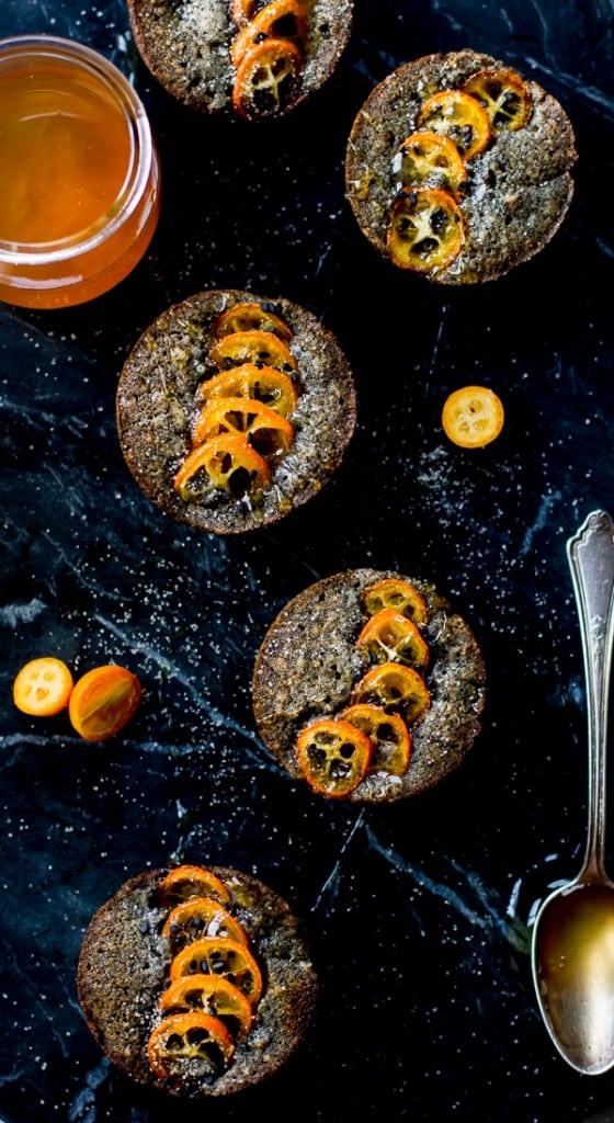 overhead shot Black Sesame Kumquat Financiers