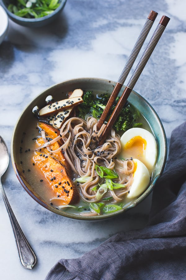 bowl of Vegetarian Miso Ramen with Rice Noodles, Roasted Sweet Potatoes + Sesame Broccolini