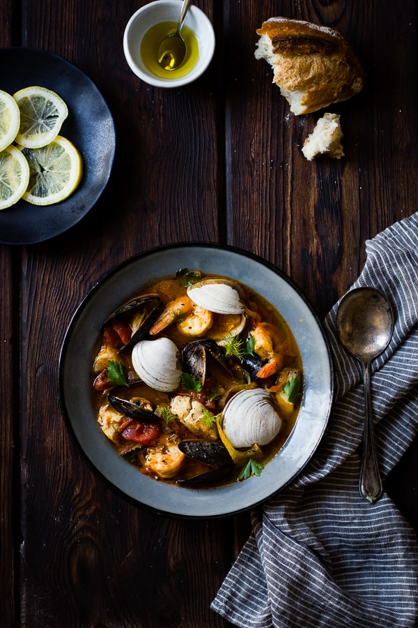 top down shot of Cioppino with Fennel and Saffron