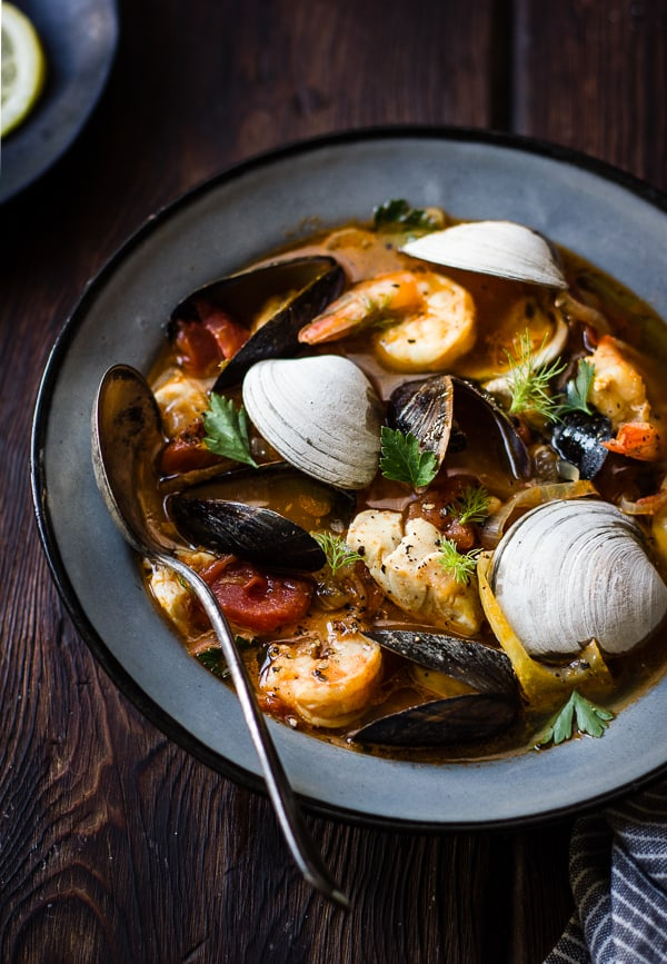 close up of Cioppino with Fennel and Saffron