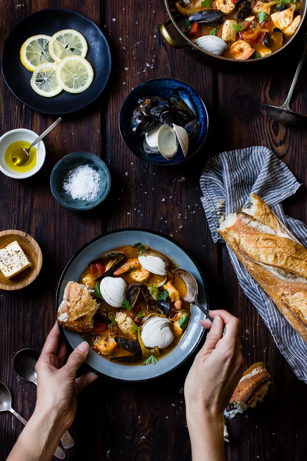 Cioppino with Fennel and Saffron in bowl on table