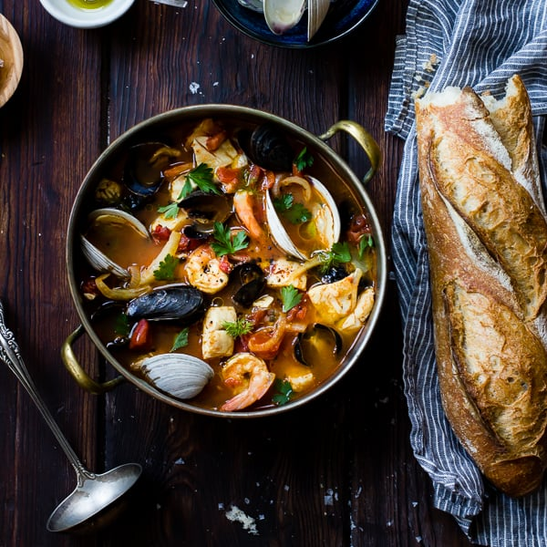 Cioppino with Fennel and Saffron in pot