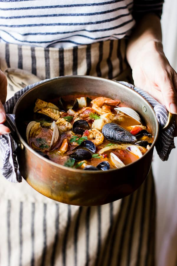 pot of Cioppino with Fennel and Saffron
