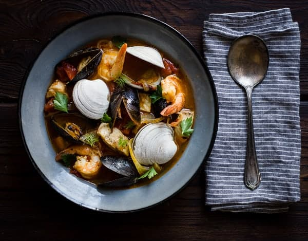 a dish of delicious Cioppino with Fennel and Saffron
