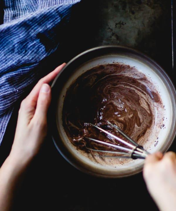 whisking chocolate