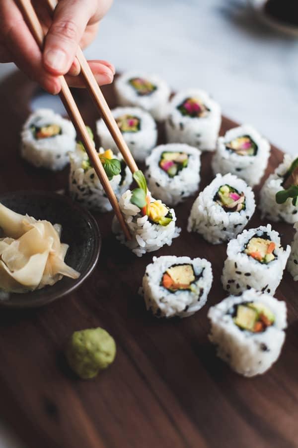 row of sushi rolls