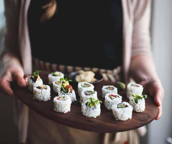 tray of sushi rolls