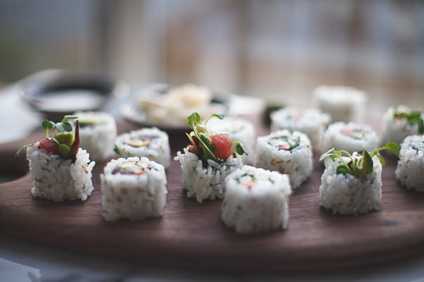 side shot of sushi rolls