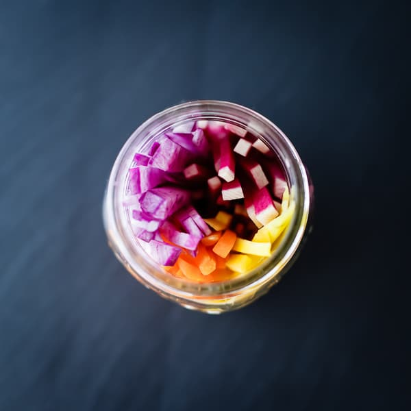 top down shot of pickling veg