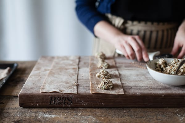 filling on pasta squares