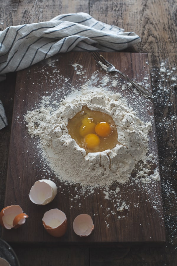 eggs in flour well
