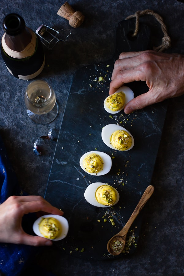 Dukkah Deviled Duck Eggs served on slate