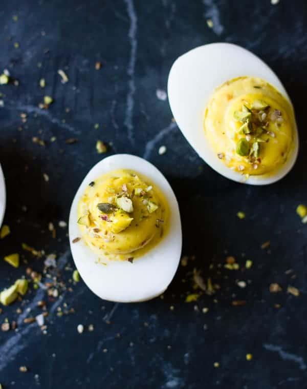 close up of Dukkah Deviled Duck Eggs