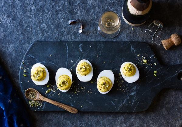 Dukkah Deviled Duck Eggs on tray