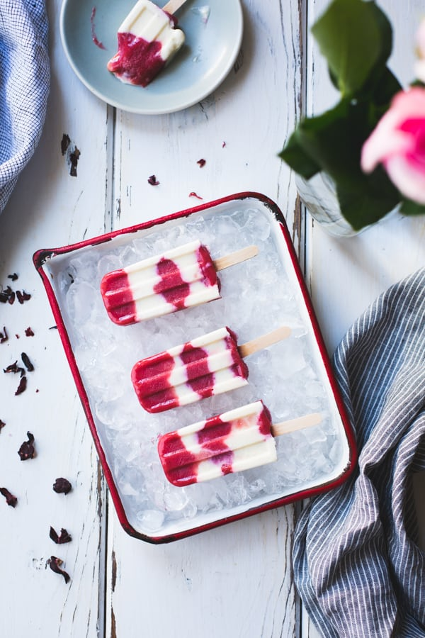 top down shot of Hibiscus, Rhubarb + Yogurt Ice Pops