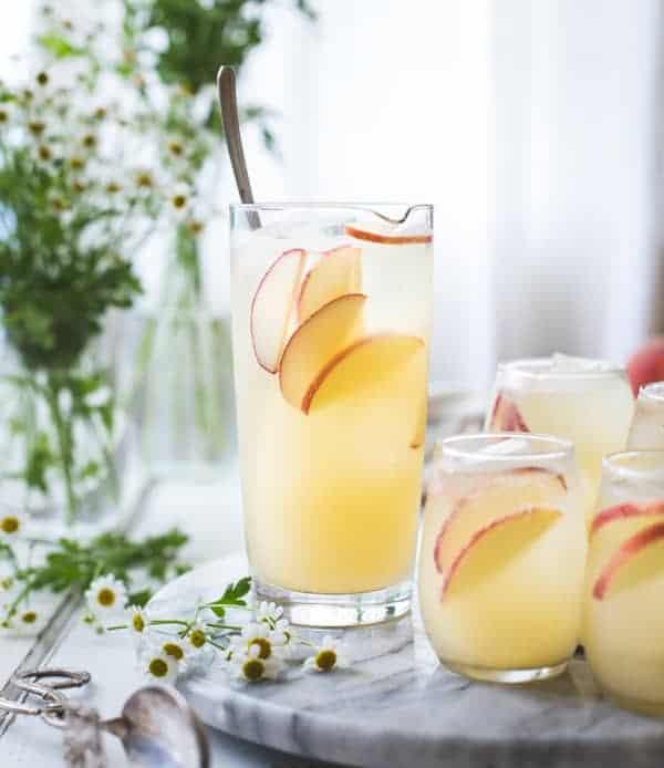 refreshing White Nectarine Prosecco Sangría with Ginger & Elderflower