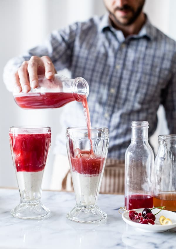 pouring fruit mix in float