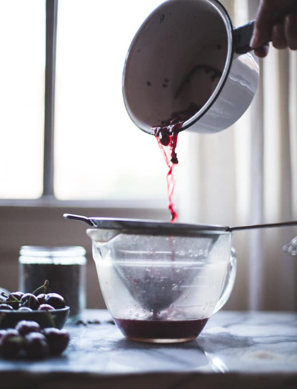 cherries through sieve