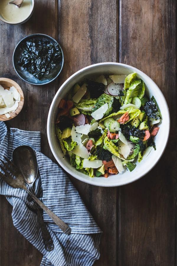 overhead shot of Wasabi Caesar Salad