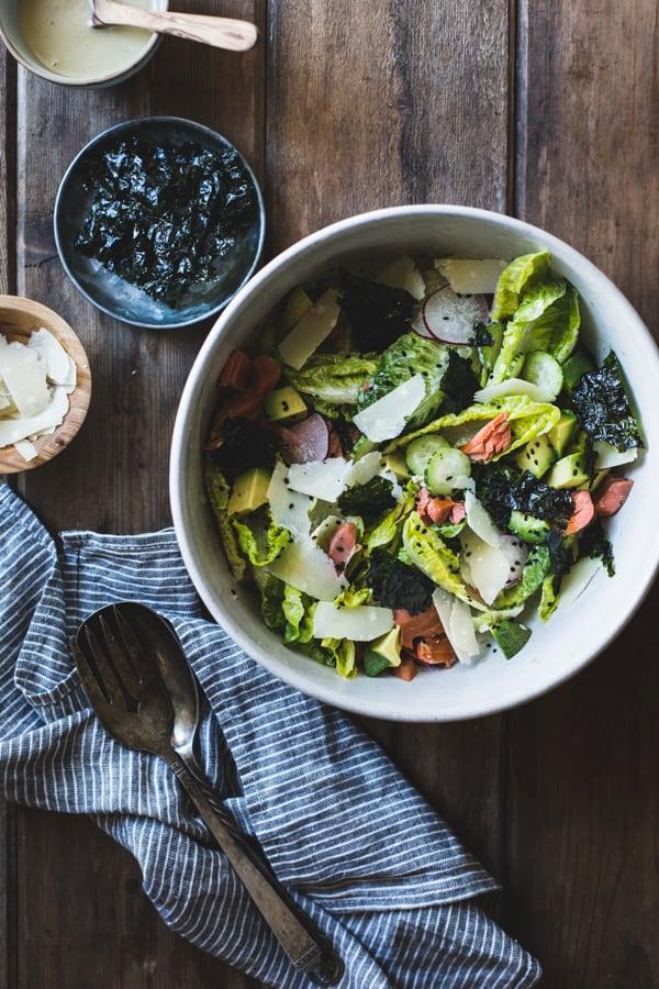 Wasabi Caesar Salad in a bowl