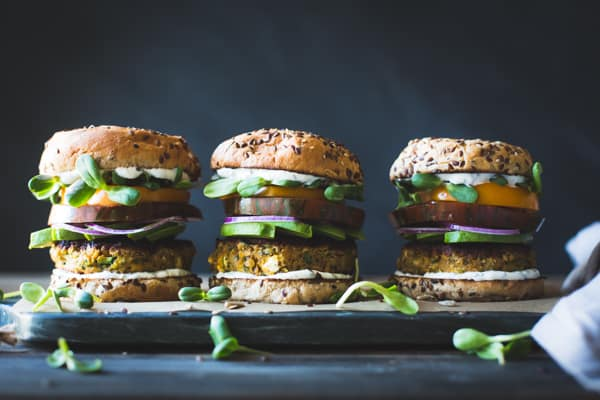 3 Spiced Zucchini, Feta + Chickpea Veggie Burgers with Minted Yogurt Sauce