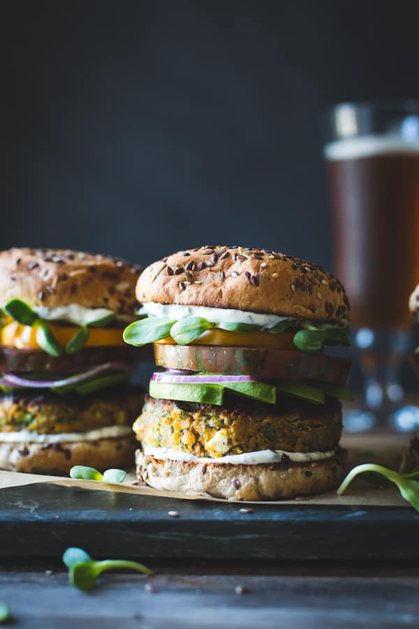 Spiced Zucchini, Feta + Chickpea Veggie Burger with Minted Yogurt Sauce