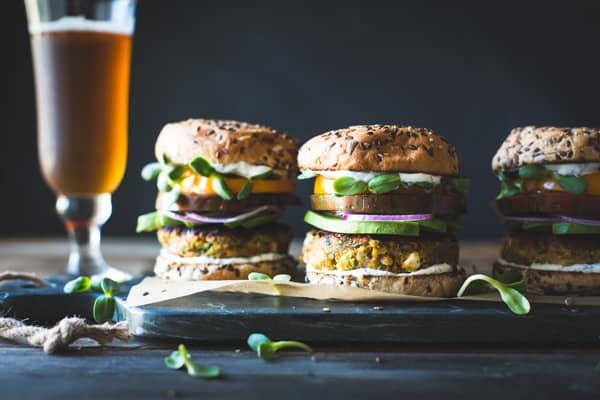 row of burgers