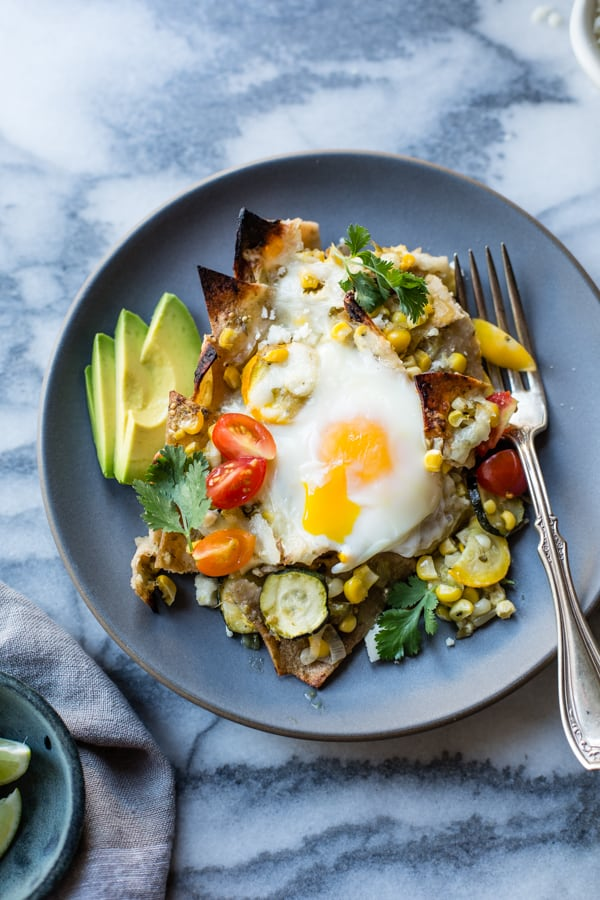 plate of Baked Green Chilaquiles with Sweet Corn + Summer Squash