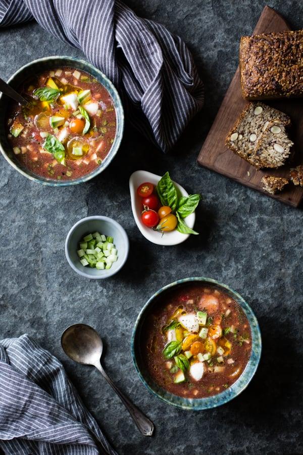 bowls of Caprese Gazpacho