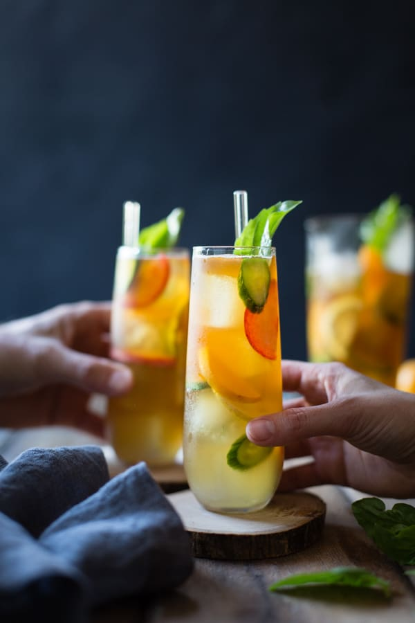 tall glasses Basil Plum Pimm's