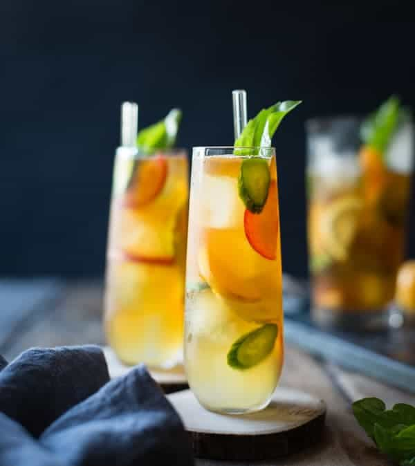 refreshing Basil Plum Pimm's Cup