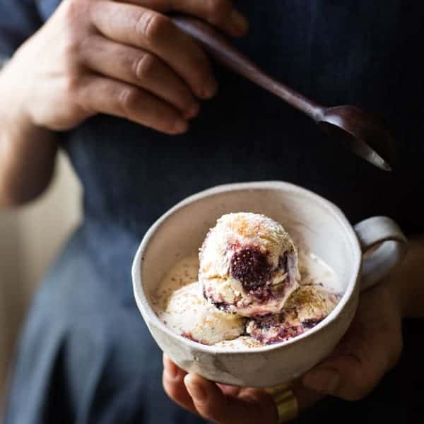 Bourbon Fig Butter + Smoked Sugar Ice Cream with a Fig Swirl in cup