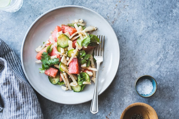 refreshing Watermelon Jicama Salad with Cotija, Cumin and Lime