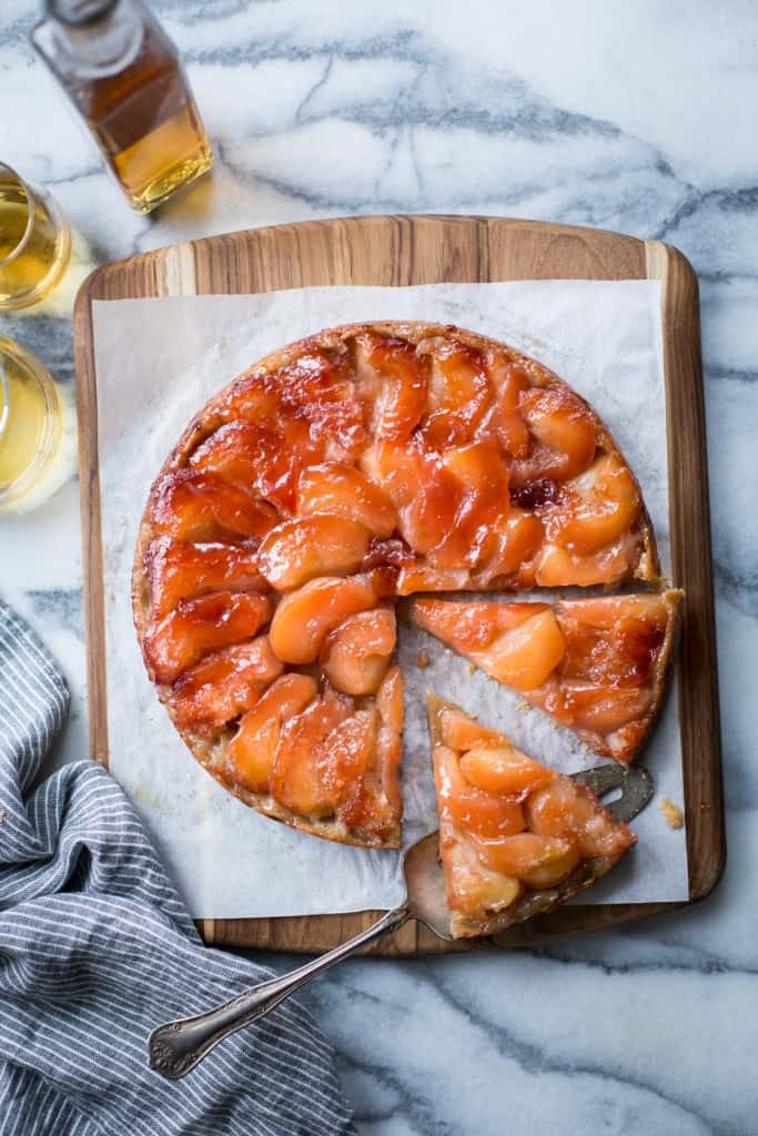 sliced Pink Pearl Apple and Calvados Tarte Tatin