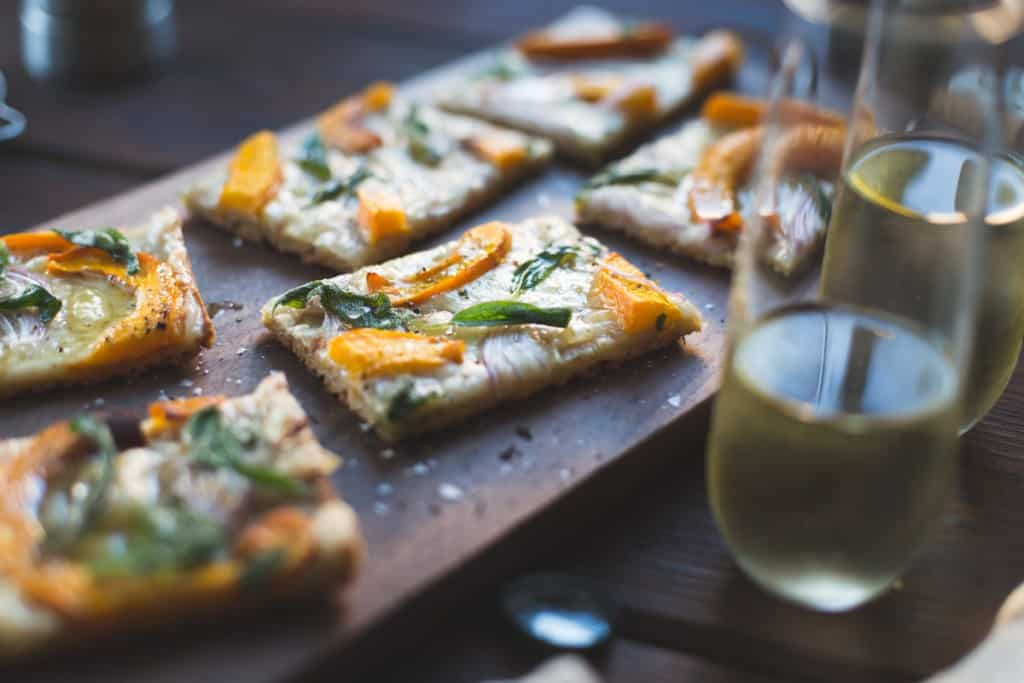 Pumpkin Flatbread with Gruyere and Crispy Sage {gluten-free} on board