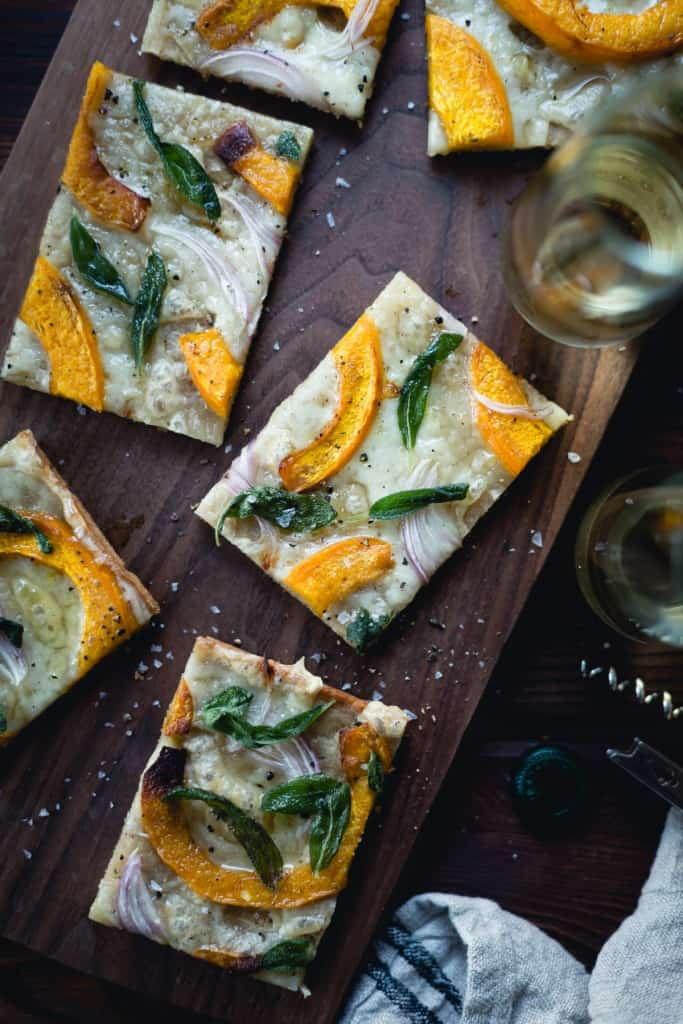 squares of Pumpkin Flatbread with Gruyere and Crispy Sage {gluten-free}