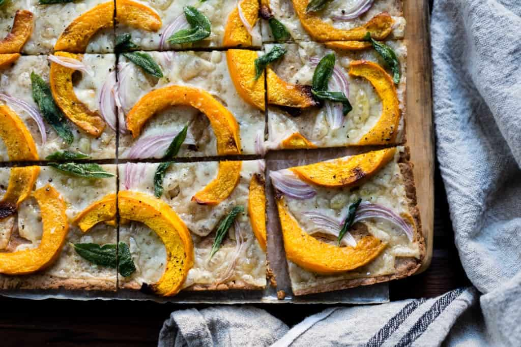 slices of lovely Pumpkin Flatbread with Gruyere and Crispy Sage {gluten-free}