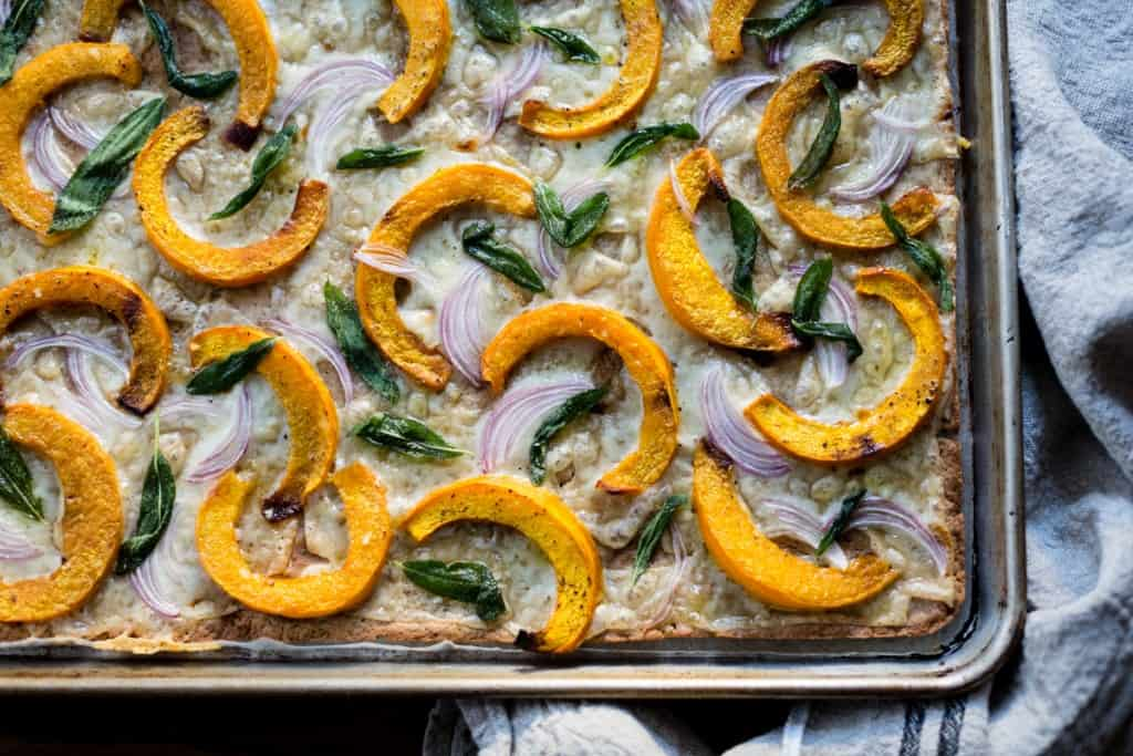 top down shot of Pumpkin Flatbread with Gruyere and Crispy Sage {gluten-free}
